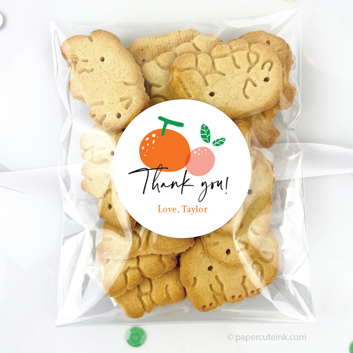 cutie orange thank you stickers