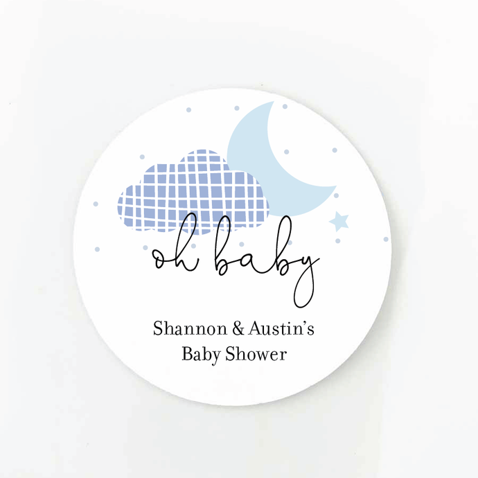 We're Over The Moon Baby Shower Favor Labels