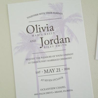 Palm Tree Wedding Invitation Set