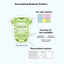 Load image into Gallery viewer, The Adventure Begins Personalized Baby Shower Labels
