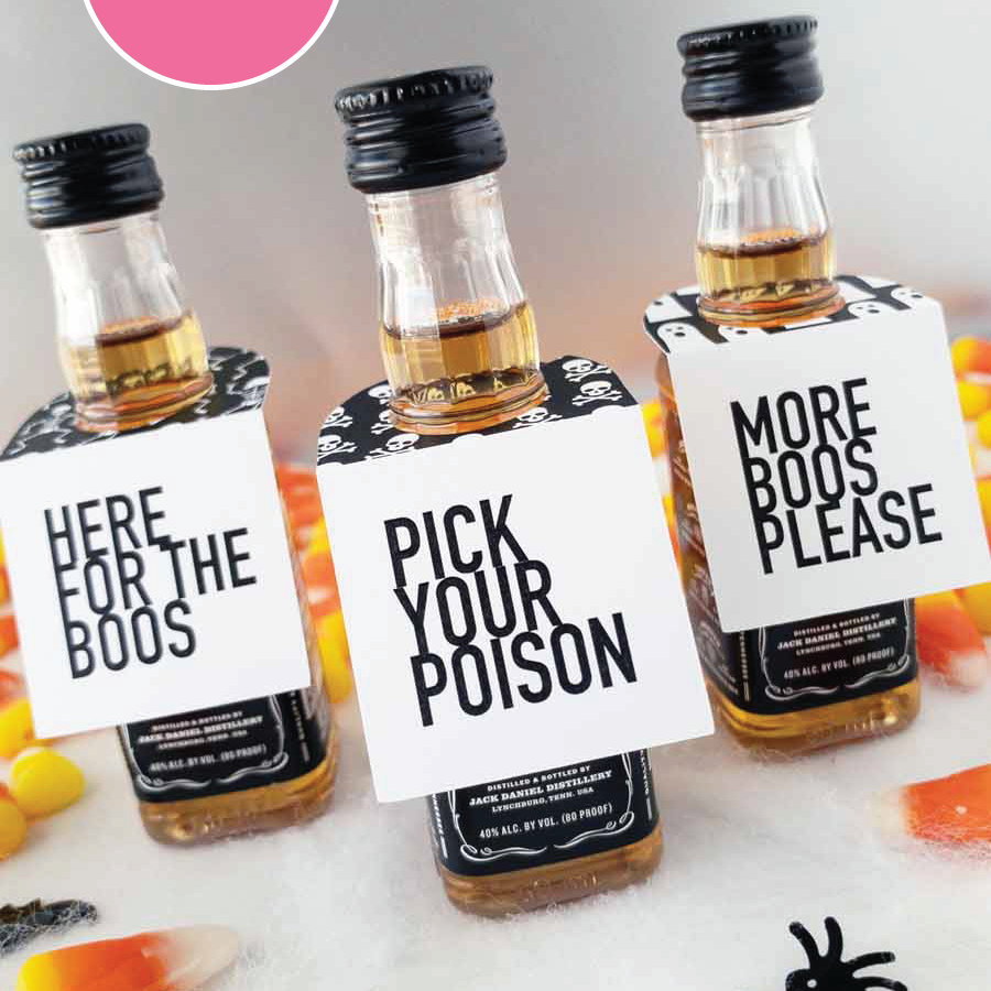Halloween Party Mini Bottle Tags Print At Home