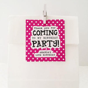 Polka Dot Birthday Party Favor Tag