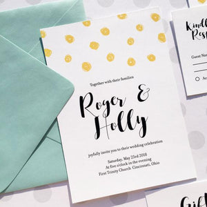 Polka Dot Wedding Invitation Set With Postcard RSVP