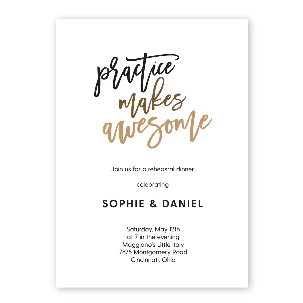 Practice Makes Awesome Rehearsal Dinner Invitation