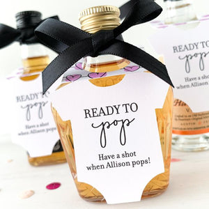 baby shower favors, baby shower mini bottle tags