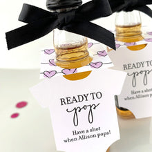 Load image into Gallery viewer, ready to pop onesie bottle tags baby shower favors