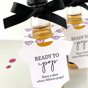 ready to pop onesie bottle tags baby shower favors