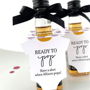 ready to pop baby shower onesie bottle tags