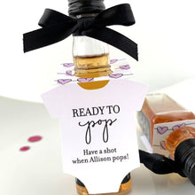 Load image into Gallery viewer, ready to pop baby shower favor tags for mini liquor bottles
