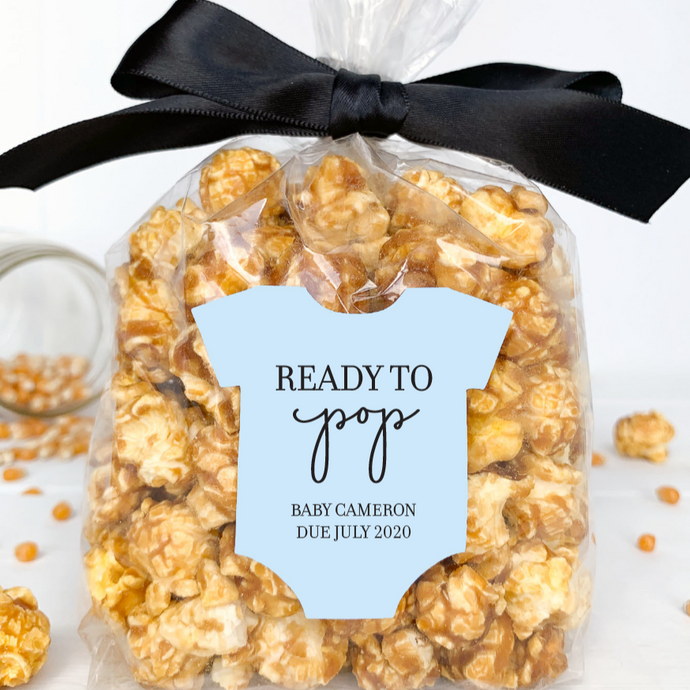 Baby Shower Ready to Pop Popcorn Labels