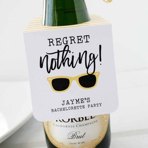 Regret Nothing Bachelorette Party Bottle Tags
