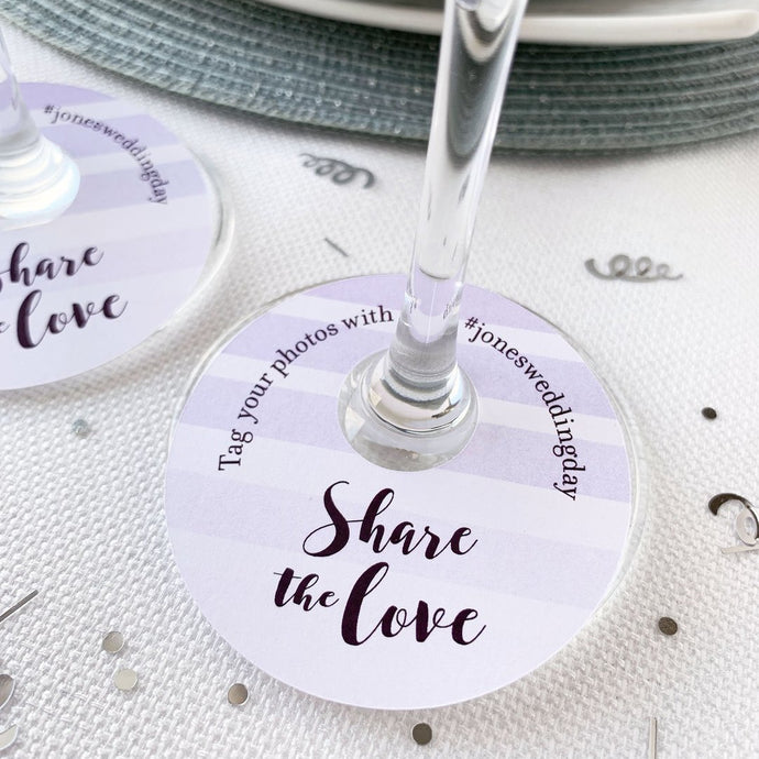 Share The Love Wedding Hashtags Wine Glass Tags