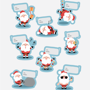 Silly Santa Gift Wrapping Stickers