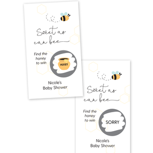 Sweet As Can Bee Baby Shower Scratch Off Game