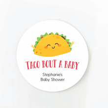 Load image into Gallery viewer, taco bout a baby round baby shower favor label