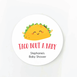 taco bout a baby round baby shower favor label