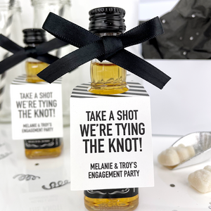 take a shot engagement party mini liquor tags