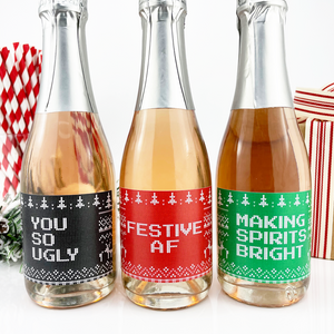 Ugly Sweater Christmas Mini Champagne Labels