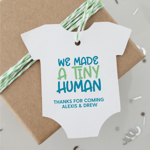 We Made A Tiny Human Baby Shower Favor Tags