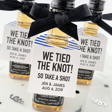 Load image into Gallery viewer, Take a Shot We Tied the Knot Mini Bottle Tags Wedding Favors