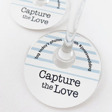 Load image into Gallery viewer, Capture The Love Wedding Hashtags Wine Glass Tags
