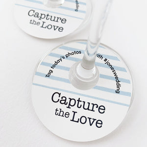 Capture The Love Wedding Hashtags Wine Glass Tags