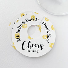 Load image into Gallery viewer, Cheers Thank You Wedding Wine Glass Favor Tags