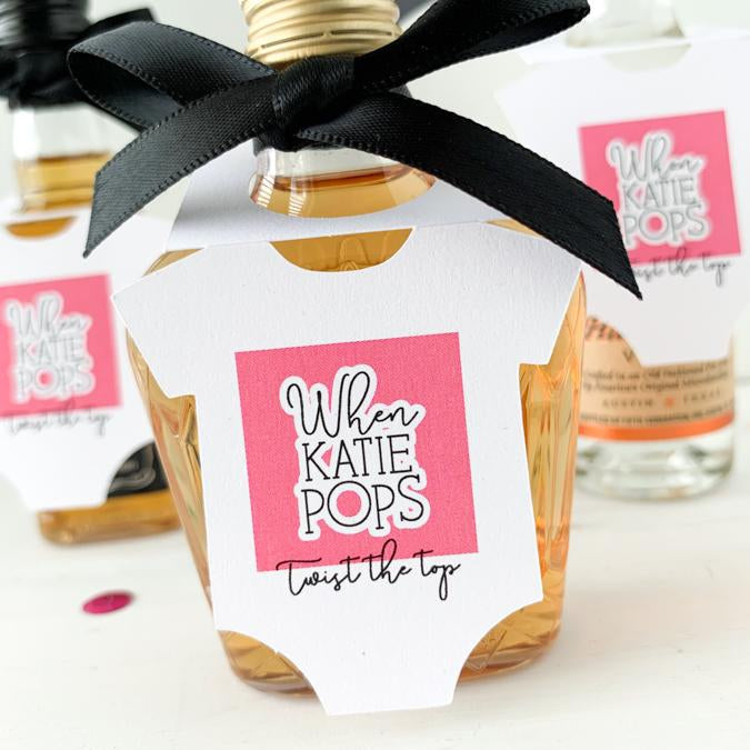 baby shower favor tags, mini bottle tags