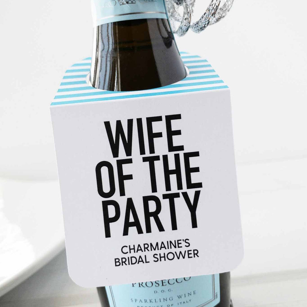 Wife of the Party Mini Bottle Tags Champagne Favors