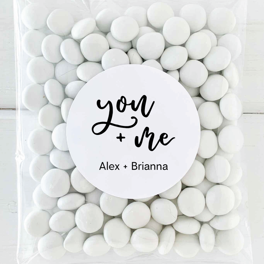 You and Me Wedding Favor Labels