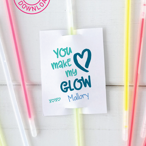 You Make My Heart Glow Valentine Tag