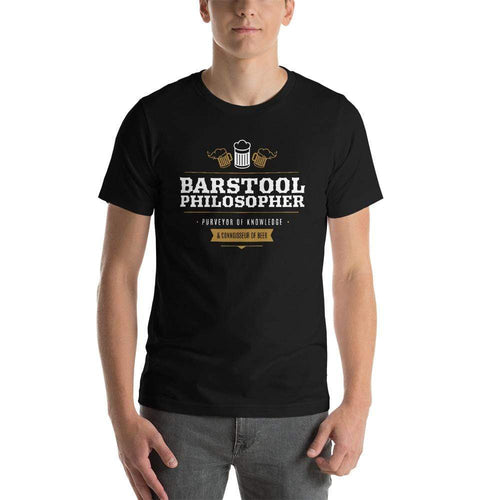 mens beer tshirts Black / XS Barstool Philosopher, Purveyor Of Knowledge & Connoisseur Of Beer (v1)
