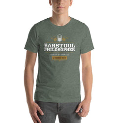 mens beer tshirts Heather Forest / S Barstool Philosopher, Purveyor Of Knowledge & Connoisseur Of Beer (v1)