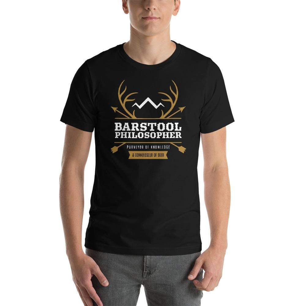 mens beer tshirts Black / XS Barstool Philosopher, Purveyor Of Knowledge & Connoisseur Of Beer (v2)