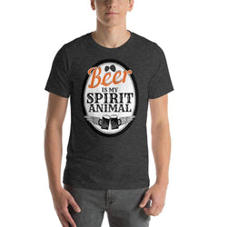 mens beer tshirts Dark Grey Heather / XS Beer Is My Spirit Animal (v2)