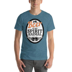 mens beer tshirts Heather Deep Teal / S Beer Is My Spirit Animal (v2)