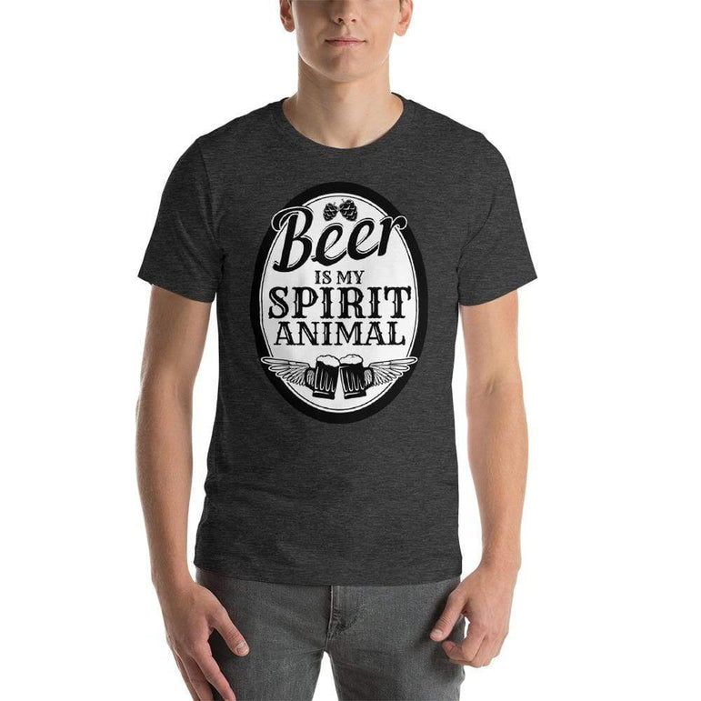 mens beer tshirts Dark Grey Heather / XS Beer Is My Spirit Animal (v3)