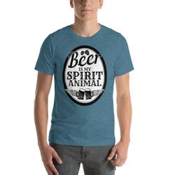 mens beer tshirts Heather Deep Teal / S Beer Is My Spirit Animal (v3)