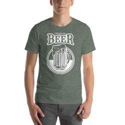 mens beer tshirts Heather Forest / S I Fear No Beer (v2)