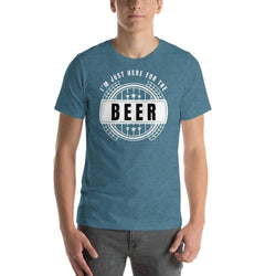mens beer tshirts Heather Deep Teal / S I'm Just Here For The Beer (v1)