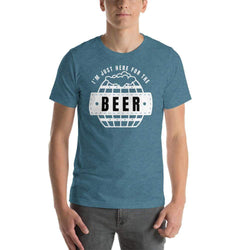 mens beer tshirts Heather Deep Teal / S I'm Just Here For The Beer (v2)