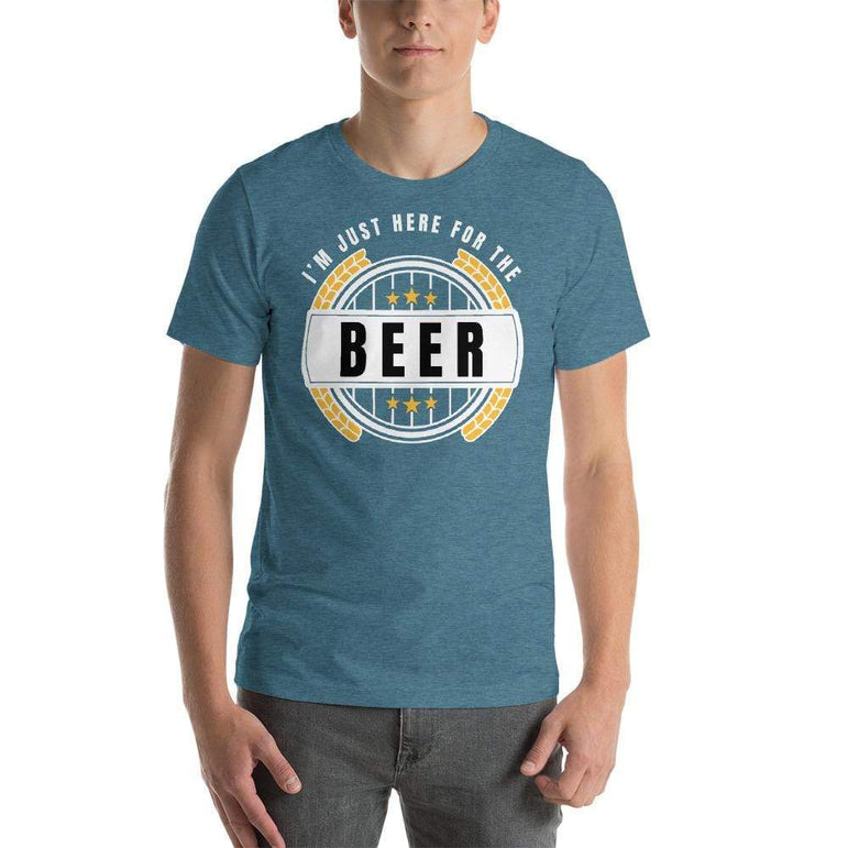 mens beer tshirts Heather Deep Teal / S I'm Just Here For The Beer (v4)