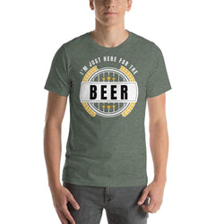 mens beer tshirts Heather Forest / S I'm Just Here For The Beer (v4)