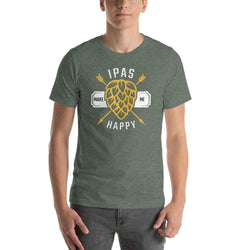mens beer tshirts Heather Forest / S IPAs Make Me Happy (v1)