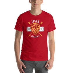 mens beer tshirts Red / S IPAs Make Me Happy (v1)