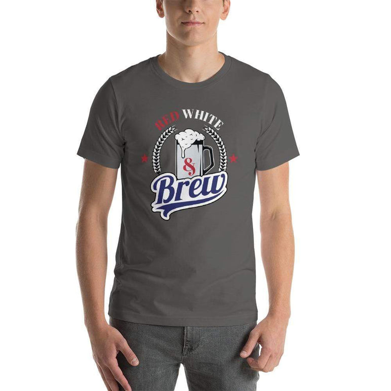 mens beer tshirts Asphalt / S Red White And Brew (v2)