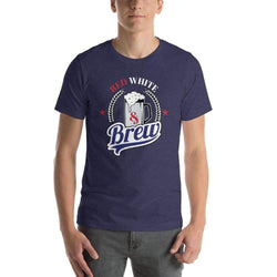 mens beer tshirts Heather Midnight Navy / XS Red White And Brew (v2)