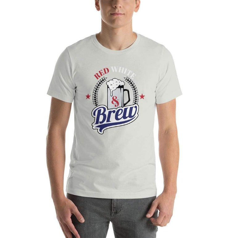 mens beer tshirts Silver / S Red White And Brew (v2)