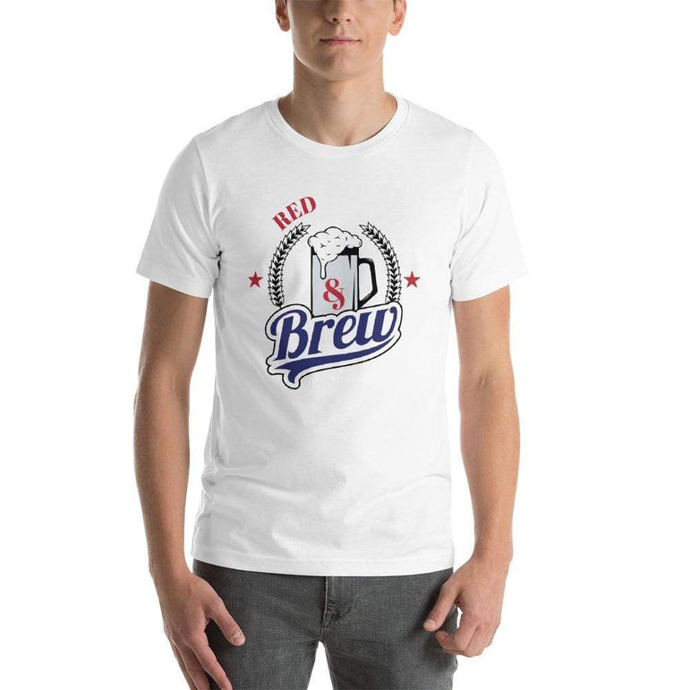 mens beer tshirts White / XS Red White And Brew (v2)