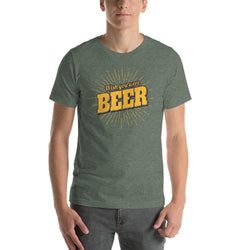 "mens beer tshirts Heather Forest / S Wish You Were ""BEER"" (v1)"